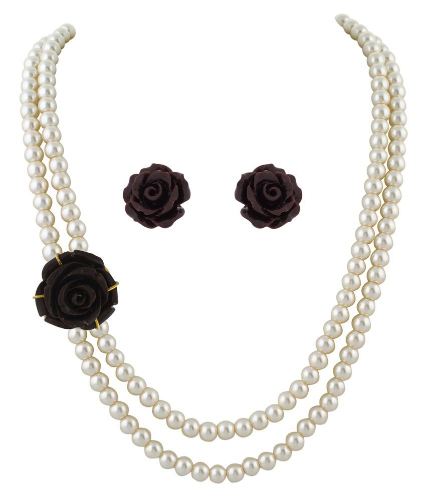 ClassiqueDesigner Jewellery Brown Rose Pearl Set