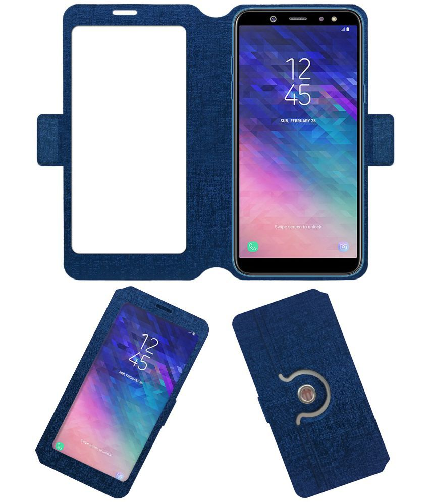 purchase cheap af83c 2860e SAMSUNG GALAXY A6 PLUS 2018 Flip Cover by ACM - Blue NA