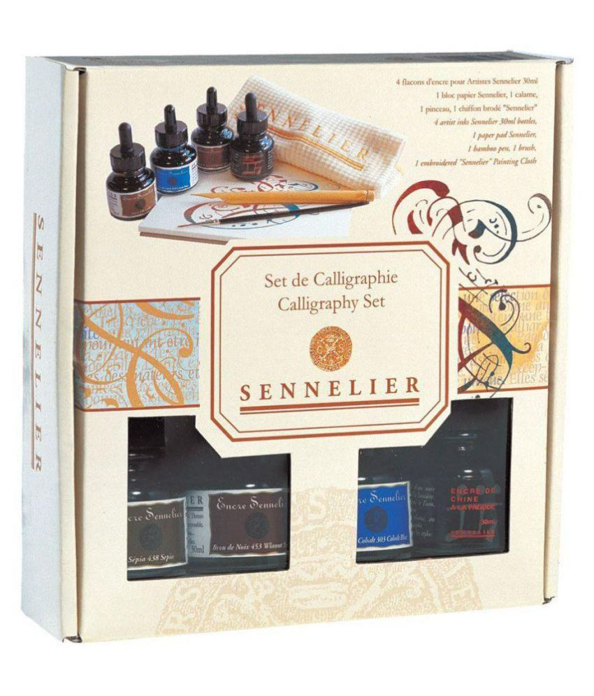 Sennelier Artists Ink calligraphy Set Of 4 Colors ( Includes Four 30ml bottle one of each color , 1 brush ,1 Bamboo pen , 1 embroidered Sennelier cloth and 1 paper pad 7 x 7 inches)