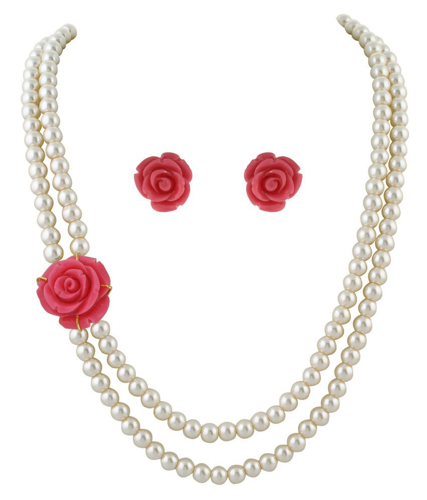 \nClassiqueDesigner Jewellery Pink Rose Pearl Set