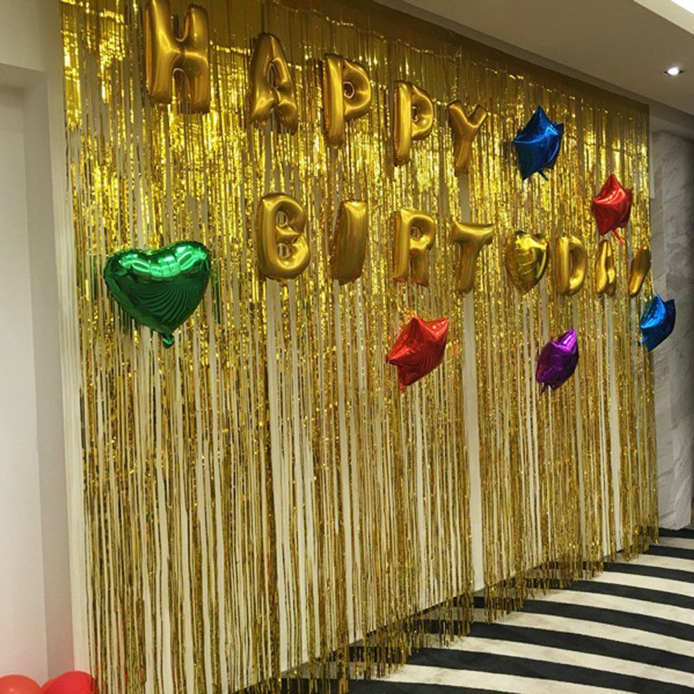 Party Propz Golden Metallic Fringe Foil Curtain (3 Feet By