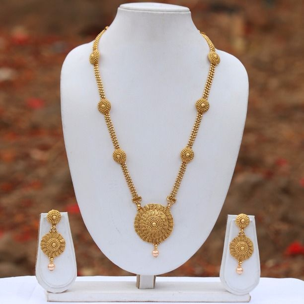 cb485a3a53d Lookethnic Beautiful Antique Artificial Gold Plated Long Necklace Set - Buy Lookethnic  Beautiful Antique Artificial Gold Plated Long Necklace Set Online at ...