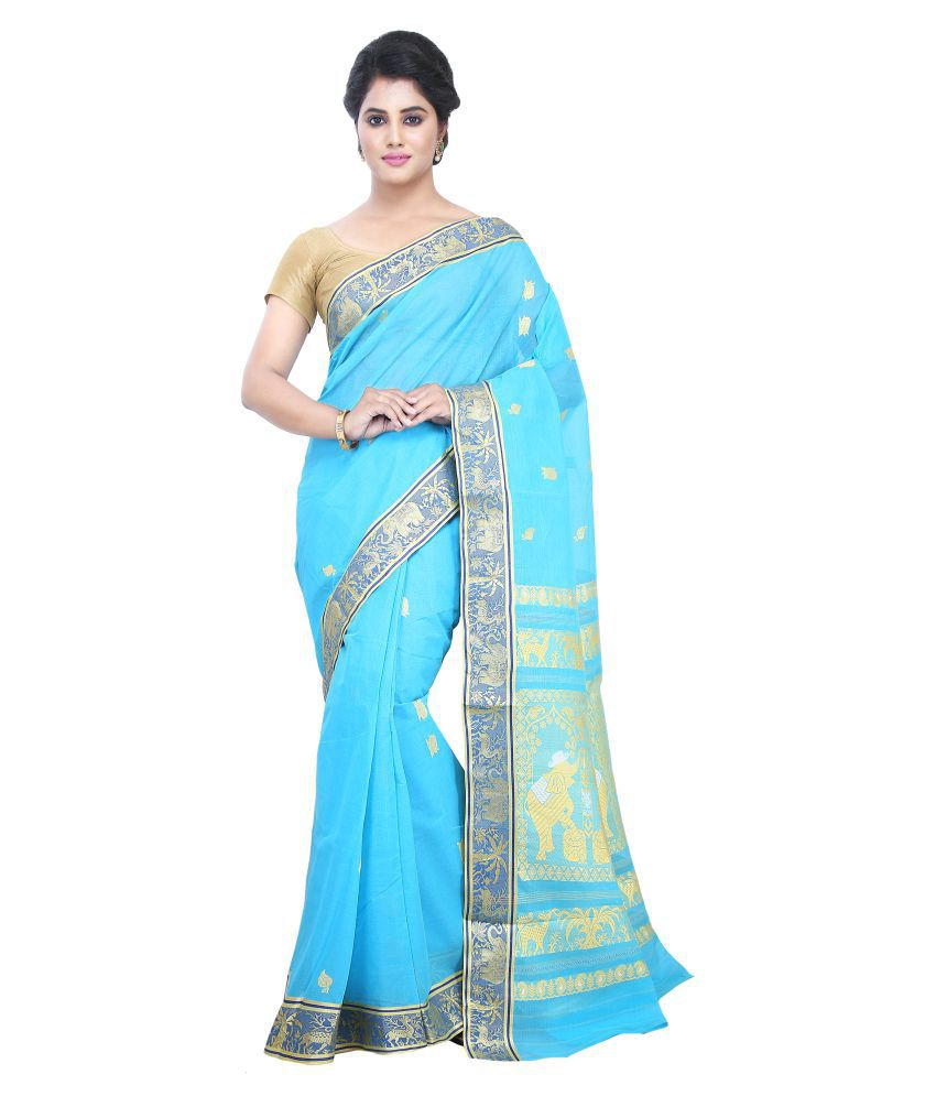 Buymyethnic Blue Cotton Saree