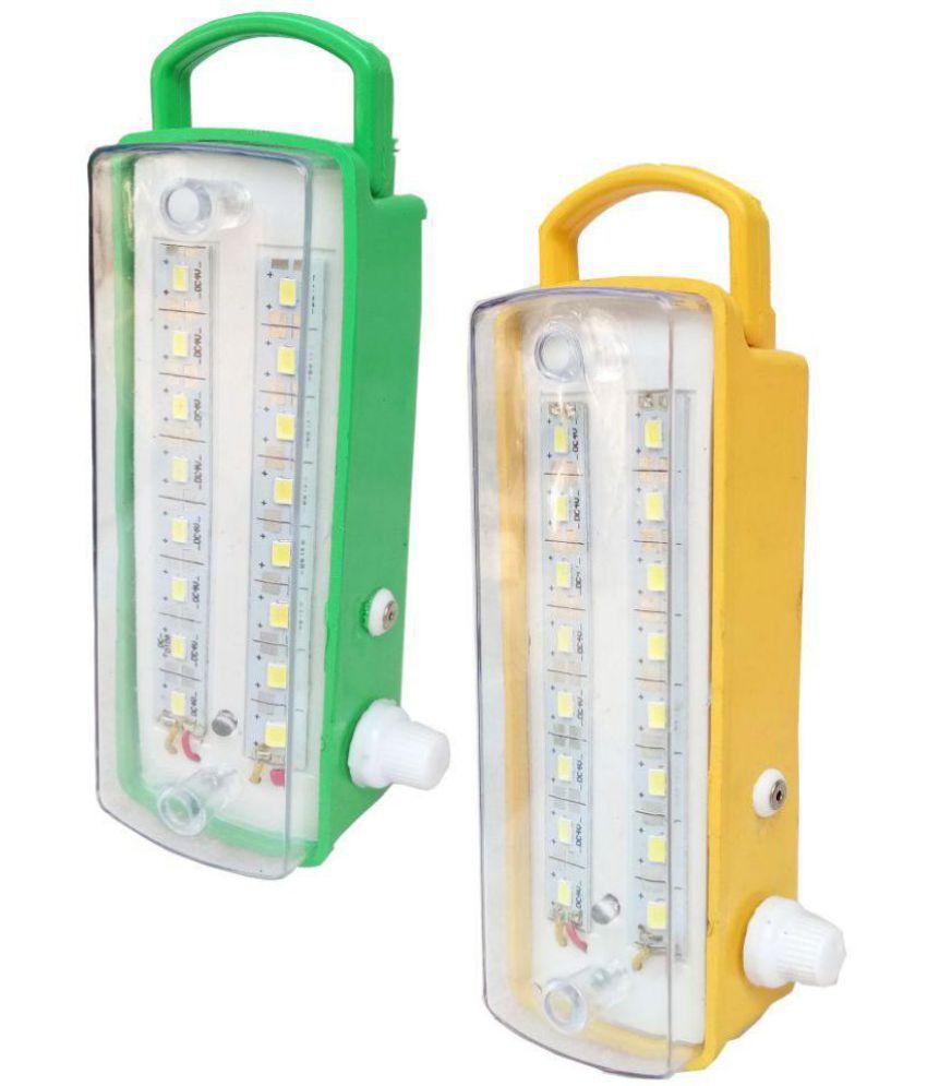 Dawn 16w Emergency Light 7 Step Regulator Portable Multicolour Pack Of 2