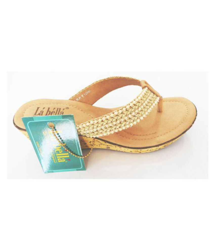 44031a816 La Bella Gold Wedges Heels Price in India- Buy La Bella Gold Wedges Heels  Online at Snapdeal