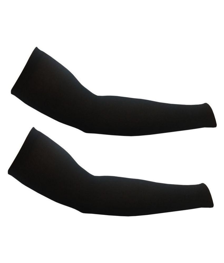 Stylewell Arm Sleeves For Men & Women Uv Protection Arm Fingerless Hand Gloves Pack Of 2 Riding Gloves (Free Size, Black)