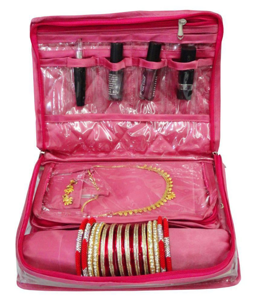 atorakushon® Locker Jewellery Kit / Jewellery box/Wardrobe Organiser/Regular Make Up Kit/ Wedding Collection Gift In satin Makeup Vanity Box  (Pink)