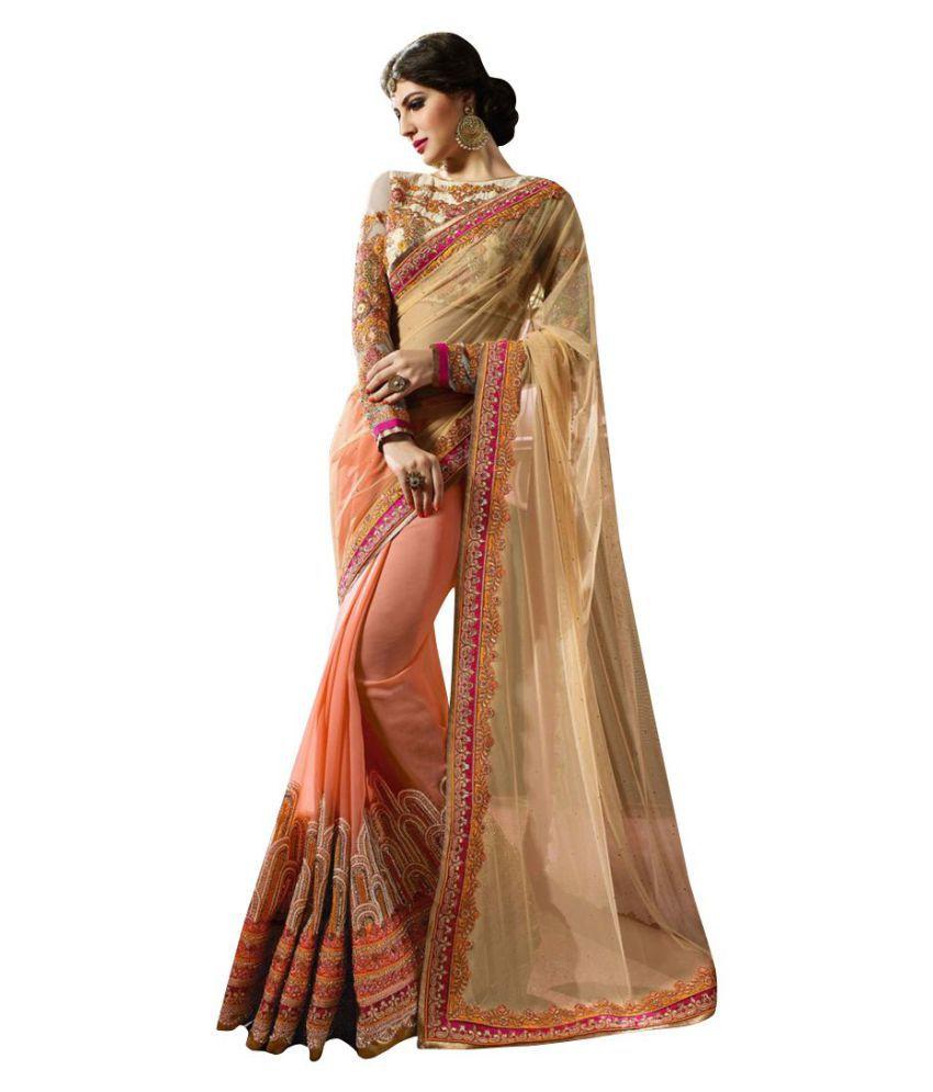 brahmani fashion Orange Georgette Saree