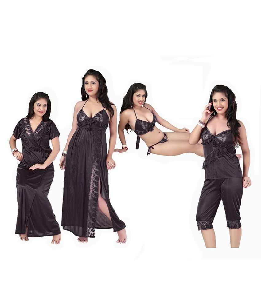 f6cf37f080 Buy Romaisa Satin Night Dress - Black Online at Best Prices in India -  Snapdeal