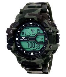 Fadiso Fashion Abx1017-Gents Green Solitary Affrican Army Pattern Chronograph Analog-Digital Watch - For Men