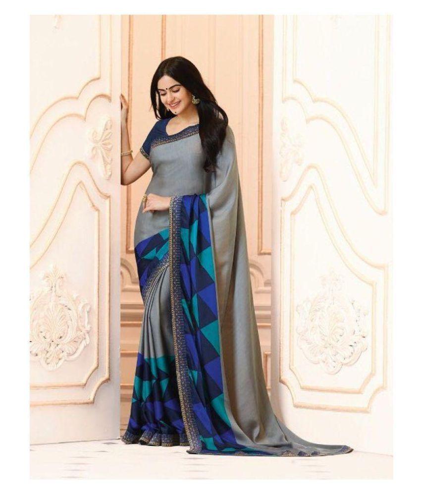 Gazal Fashions Blue and Grey Chiffon Saree