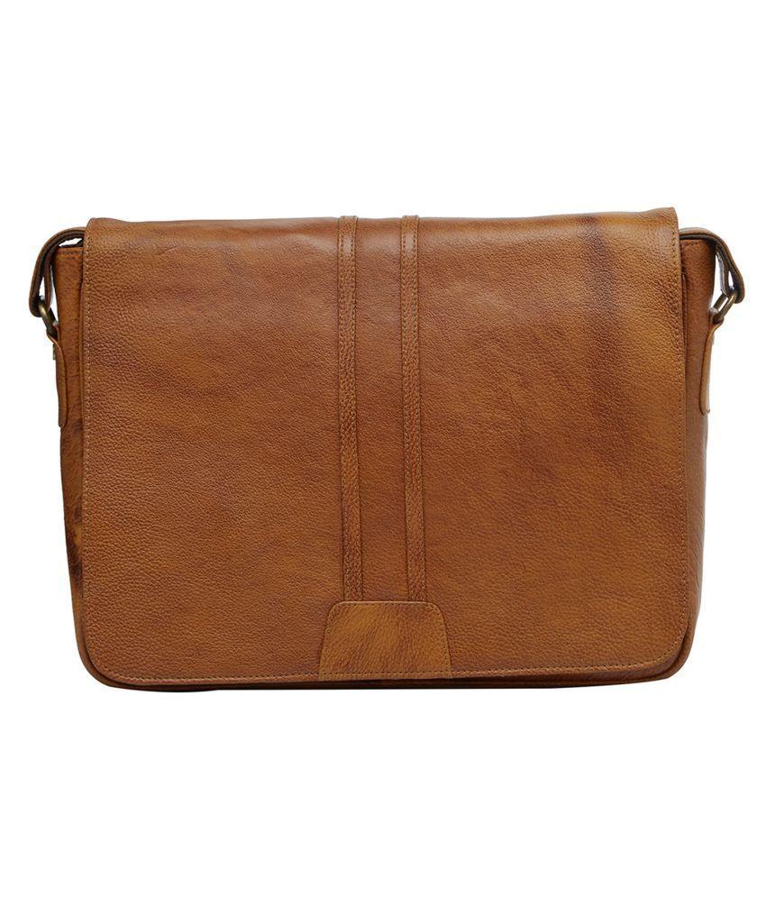 Leather World Messenger Bag Brown Leather Casual Messenger Bag