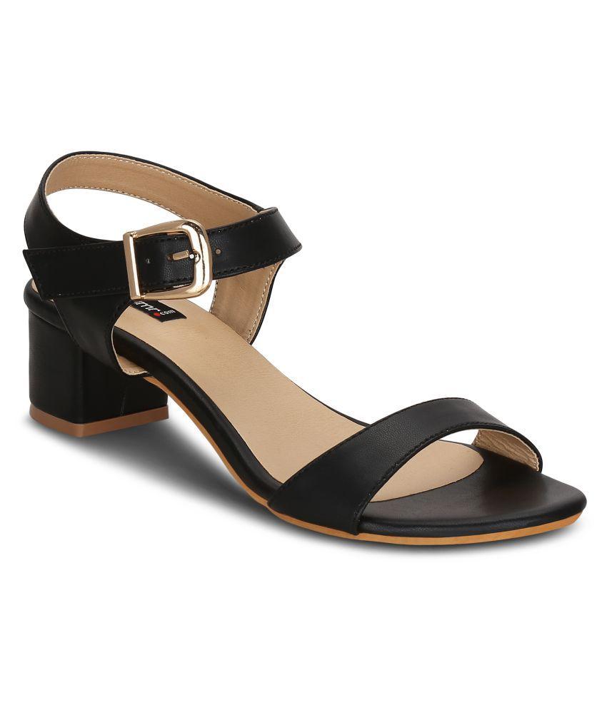 Get Glamr Black Block Heels
