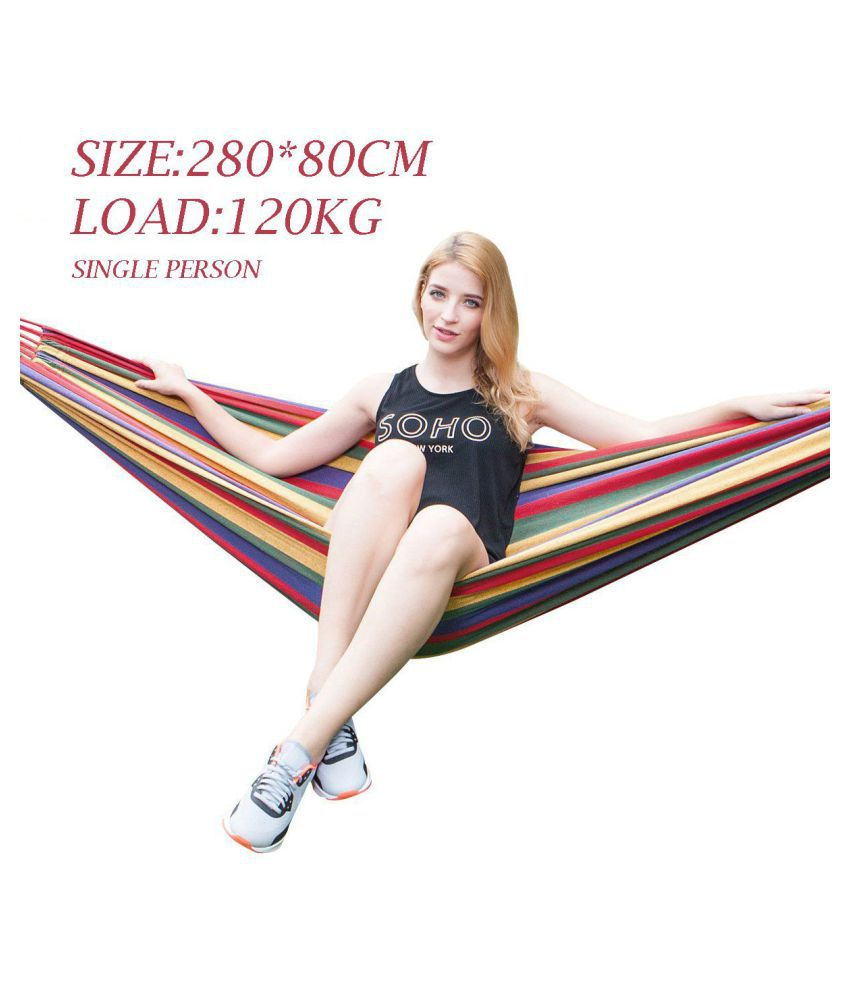 Baskety Portable Outdoor Hammock Hang Bed Travel Camping Swing Canvas with Backpack ( RED 280*80 CM (1 Person) 120 kg)