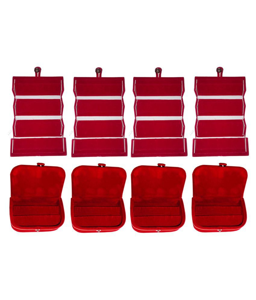 Combo 4 pc red earring folder and 4 pc red ear ring box vanity case