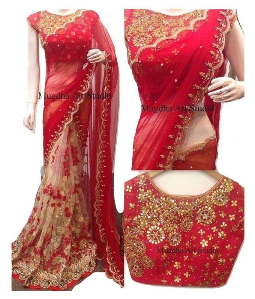 Vinayak Textile Red Georgette Saree
