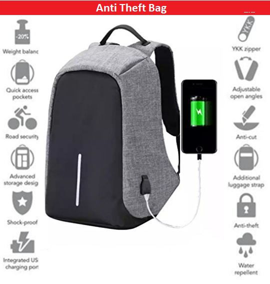 96f3a9bb0aee TR Black And Grey Anti Theft Laptop Backpack Bag for Men & Women with  Inbuilt USB Charging Point