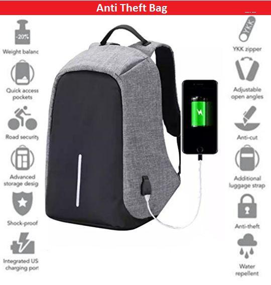 2a936d2cd TR Black And Grey Anti Theft Laptop Backpack Bag for Men & Women with  Inbuilt USB Charging Point - Buy TR Black And Grey Anti Theft Laptop Backpack  Bag for ...