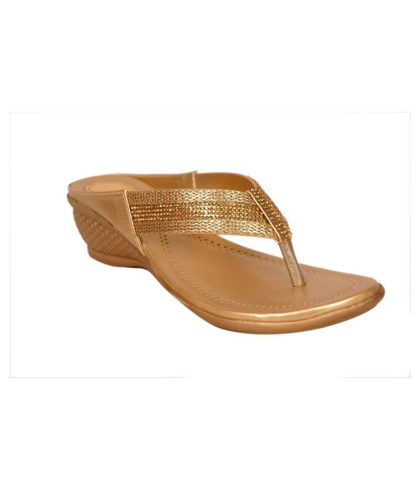 Bora Bora Gold Wedges Heels