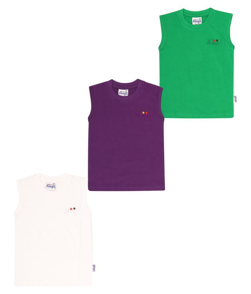 Dongli  Cotton Boys Sleeveless Tshirts(Pack of 3)