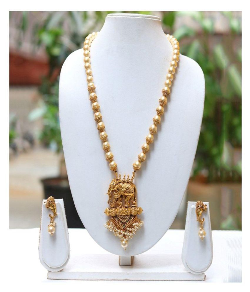 674f03e196789 Lookethnic Antique Gold Plated Elephant Design Artificial Pearl Necklace  Jewellery Set With Earrings