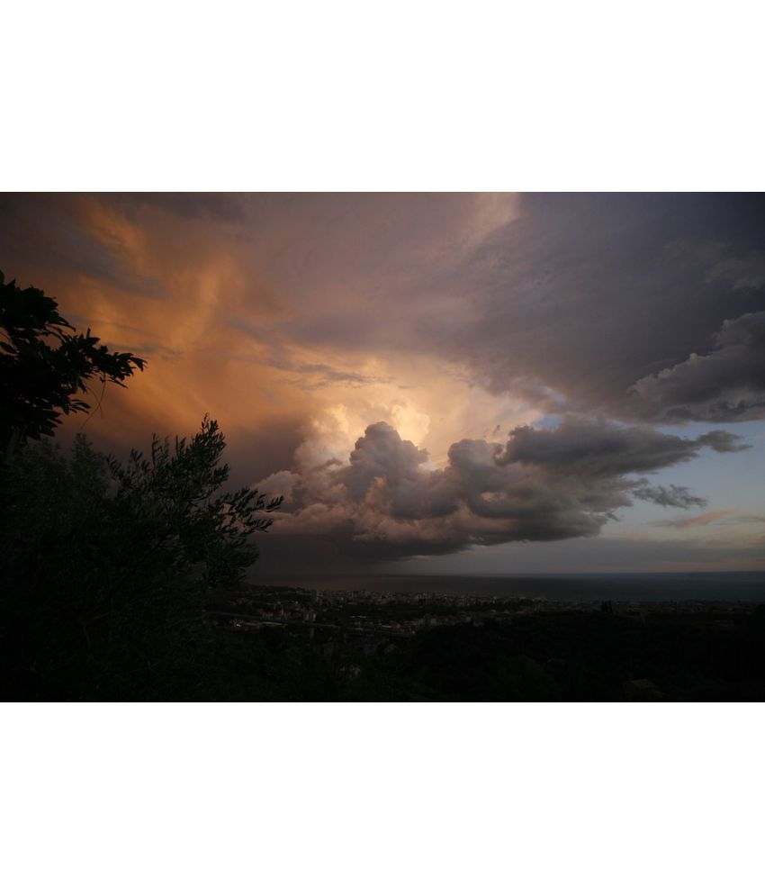 Avikalp Bad Weather Sun Sky Star Lighting Sunset Paper Wall Poster Without Frame