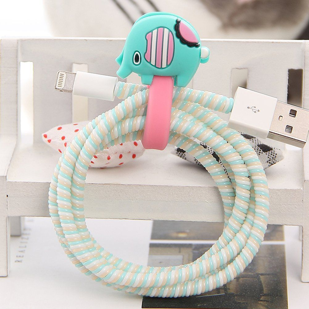 Tospania Diy Cartoon Style Spiral Wire Protectors Cable Wrap