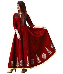 Bhuwal Fashion Maroon Crepe Anarkali Gown Semi-Stitched Suit