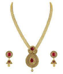 Zaveri Pearls Gold Non-Precious Metal Pendant Necklace With Jhumki Earring For Women - ZPFK4409