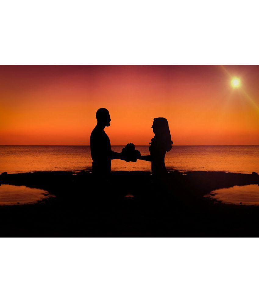 Avikalp Affection Sun Sunset Silhouette Beach Ocean Paper Wall Poster Without Frame