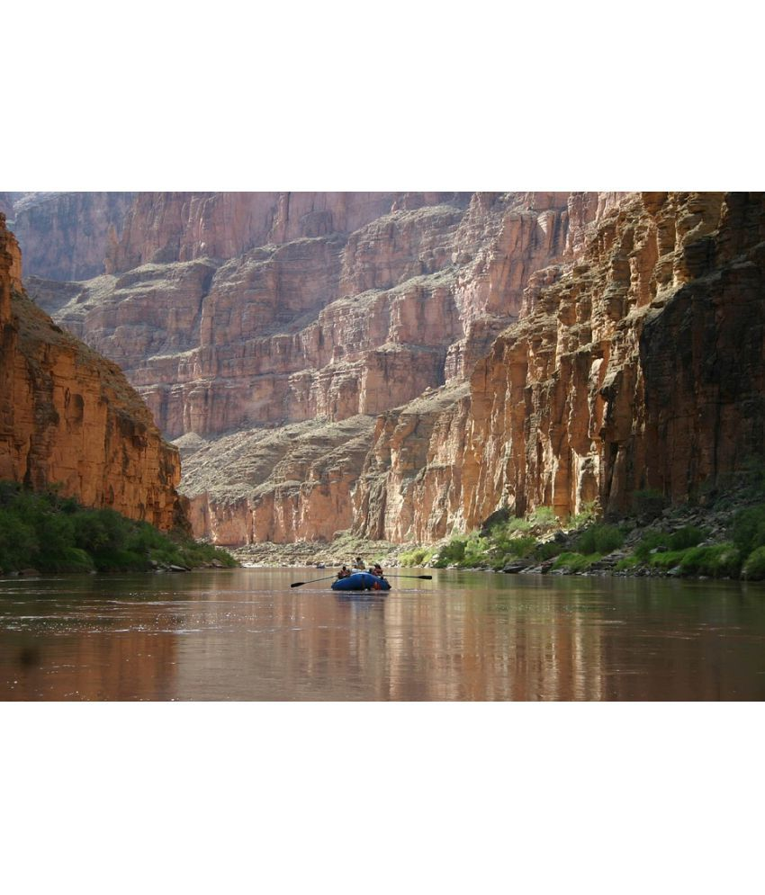 Avikalp Boating River Landscape Canyon Water Bridge Paper Wall Poster Without Frame