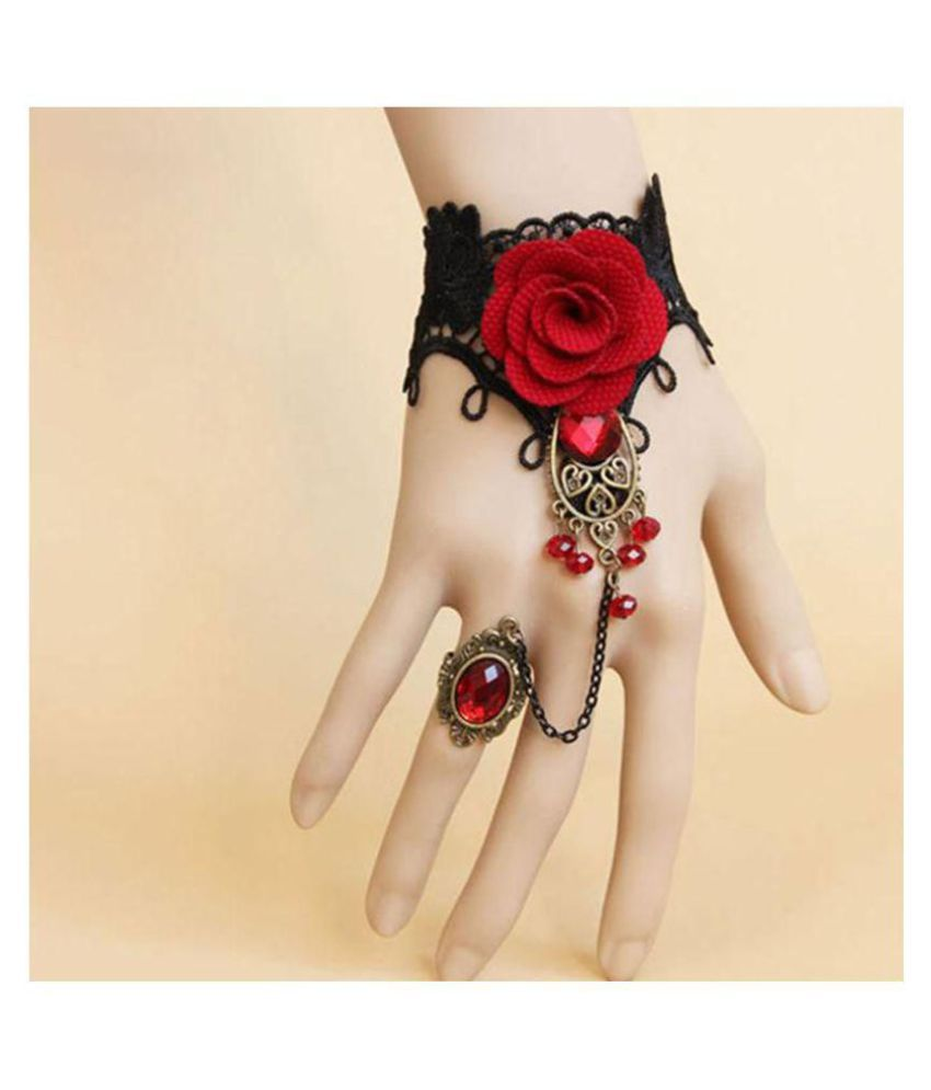 c56e41263b9b4 ShiZara Black Red Rose Lace Artificial Feather With Finger Ring Bracelet