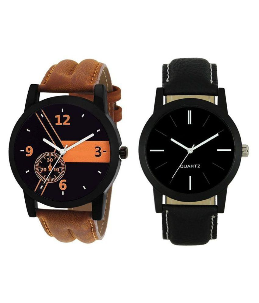 Aaradhya Fashion New Stylish Combo of Brown and Black Color Leather Strap Watch - For Men