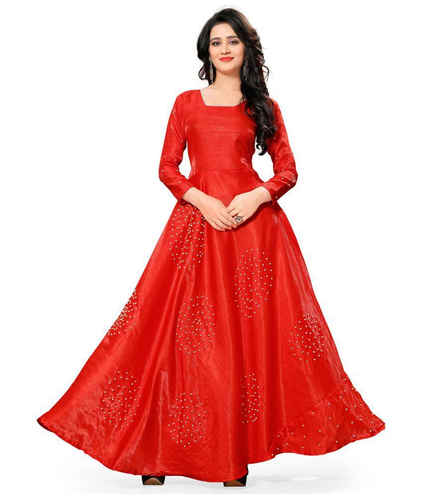Greenvilla Designs Red Satin Anarkali Semi-Stitched Suit