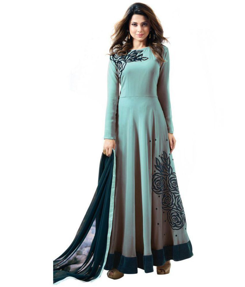 THE 9192 Grey and Black Georgette Anarkali Semi-Stitched Suit