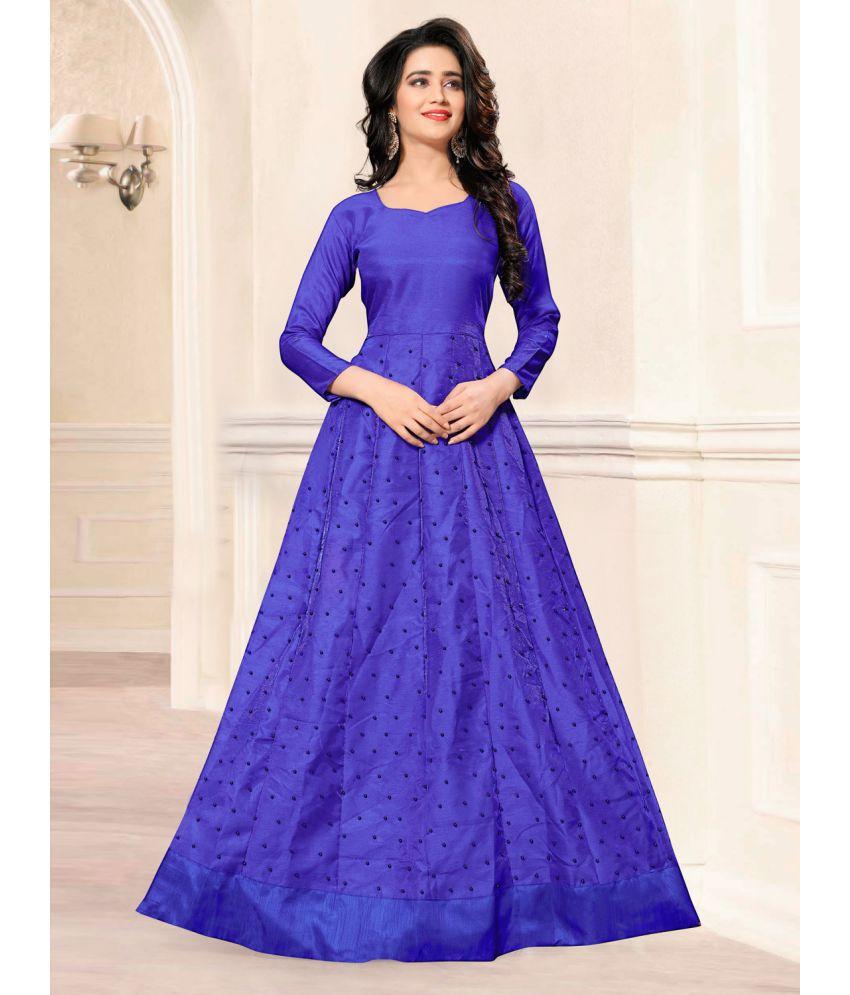 55fca1a3fd ... Greenvilla Designs Blue and Purple Satin Anarkali Gown Semi-Stitched  Suit ...
