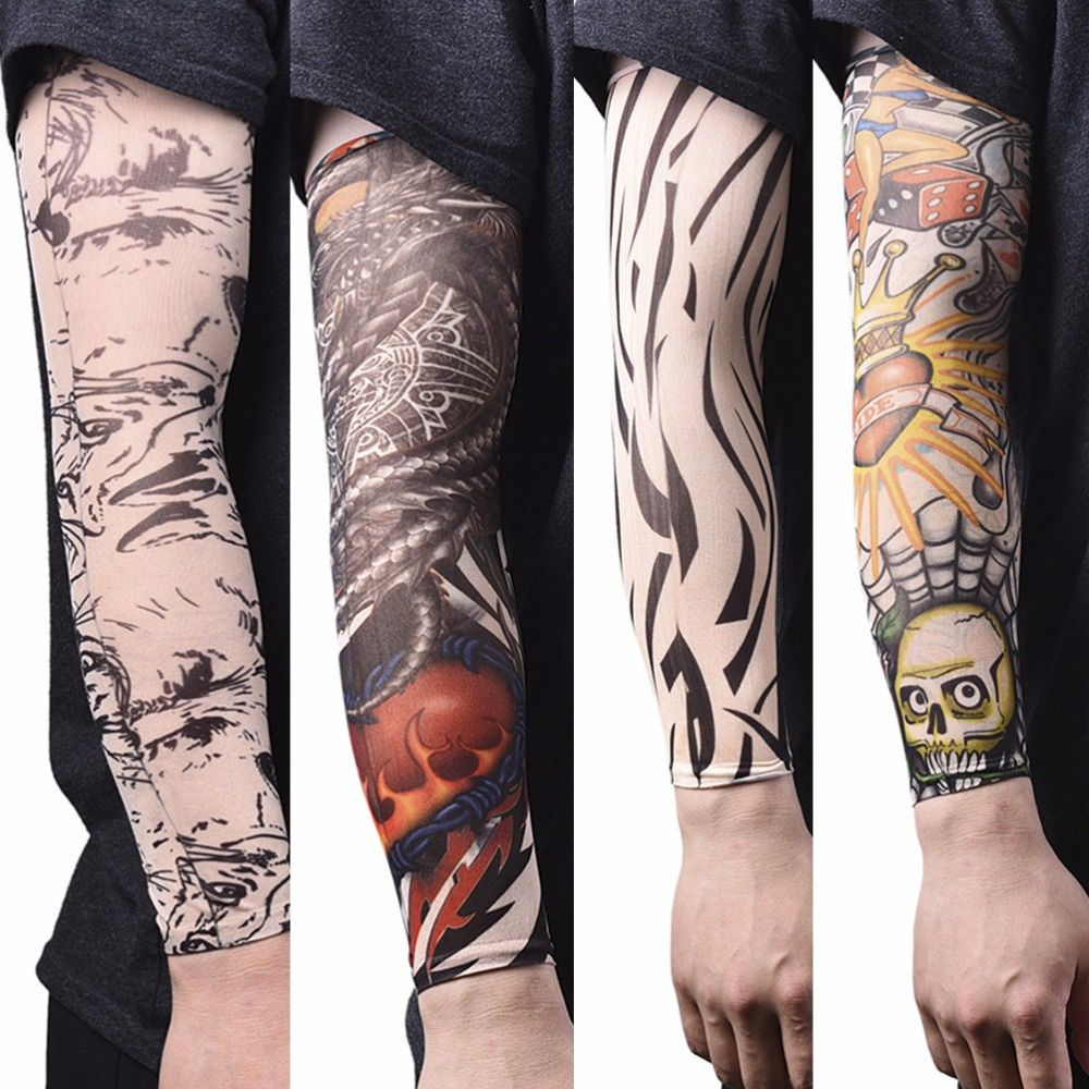 Skins Proteive Nylon stretchy fake temporary tattoo sleeves designs body arm stockings tatoos cool men women tattoo arm warmer(Buy three pieces will get one piece  for gift)