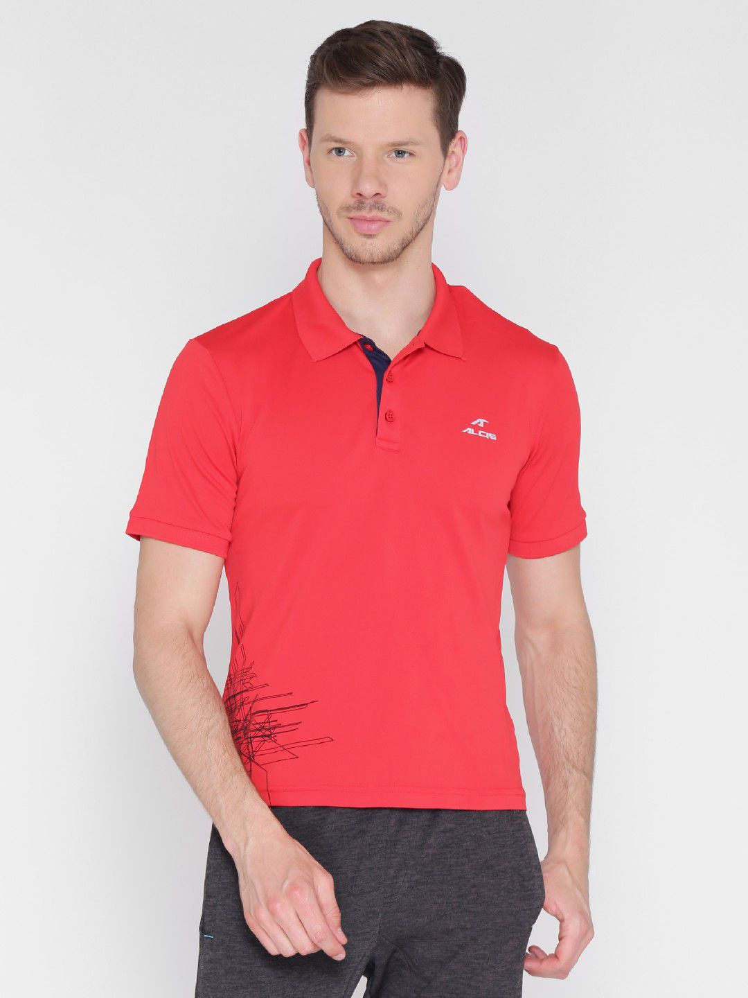 Alcis Mens Printed Red Polo T-Shirt