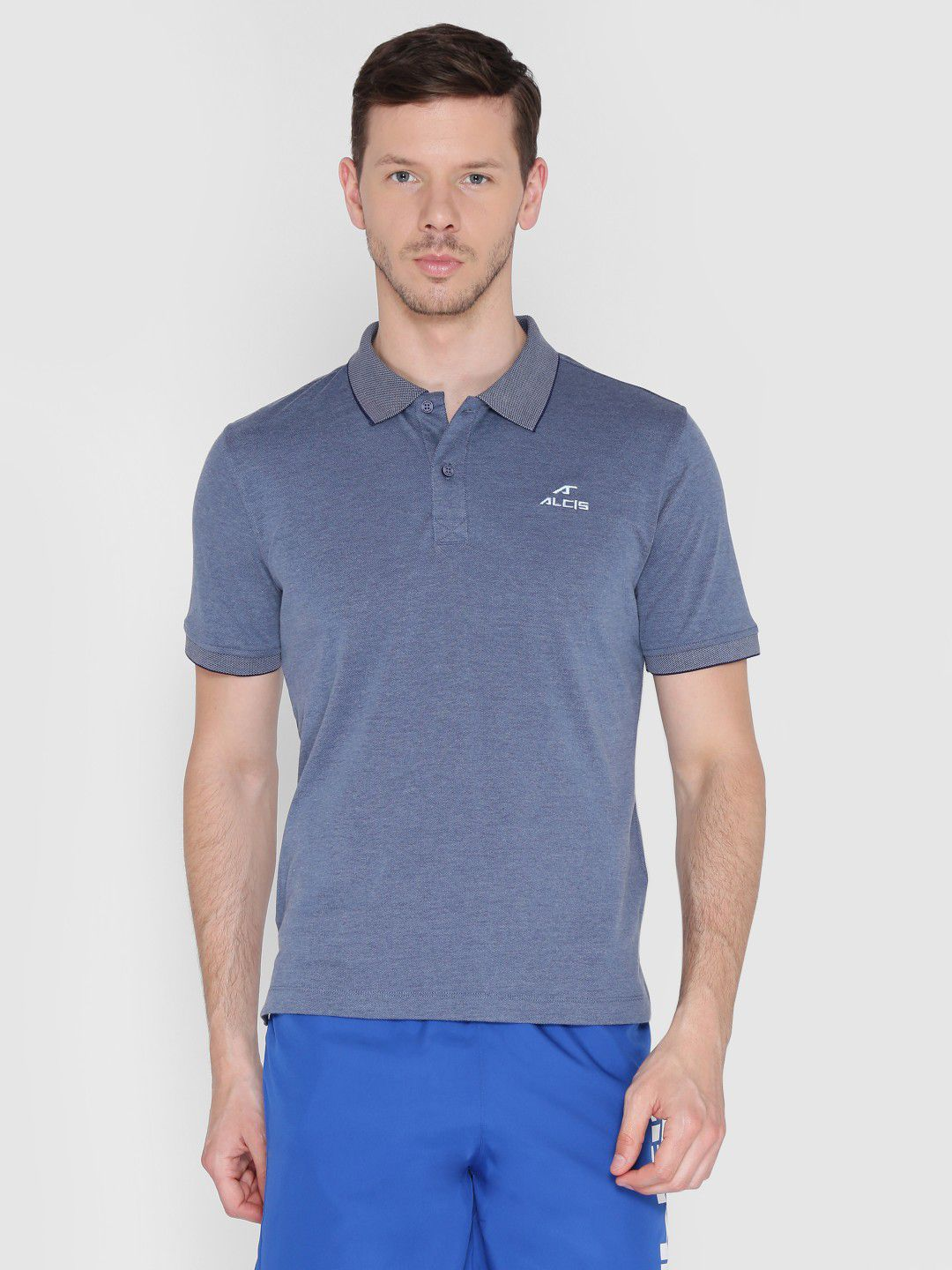 Alcis Mens Solid Blue Polo T-Shirt