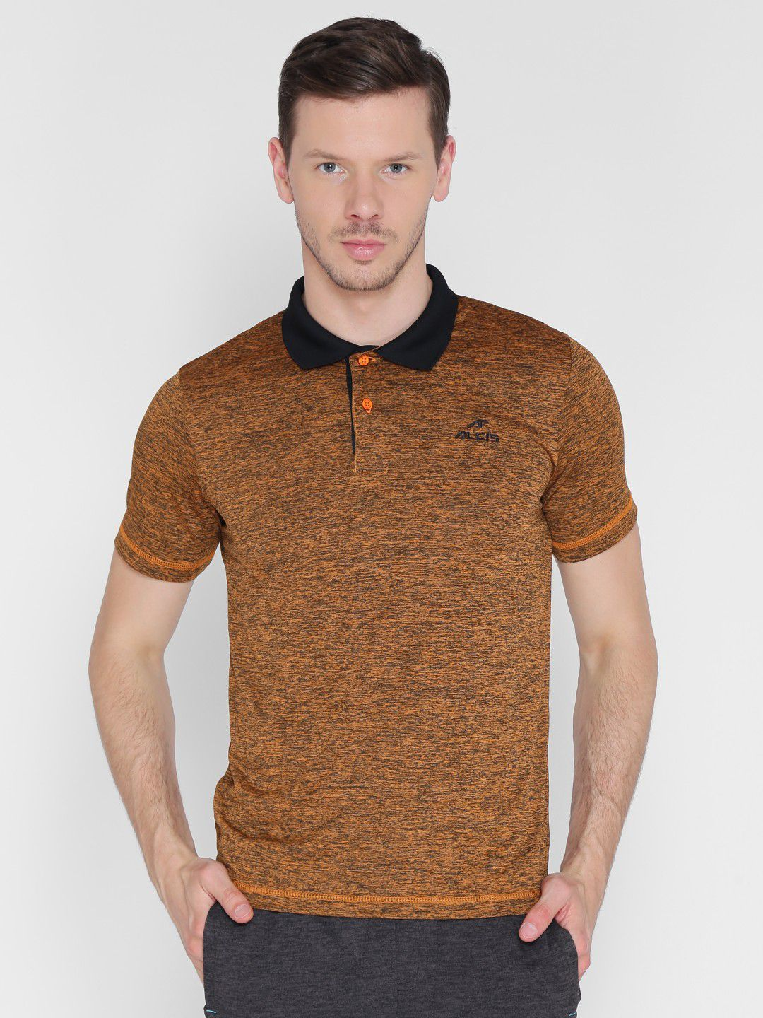 Alcis Mens Solid Orange Polo T-Shirt