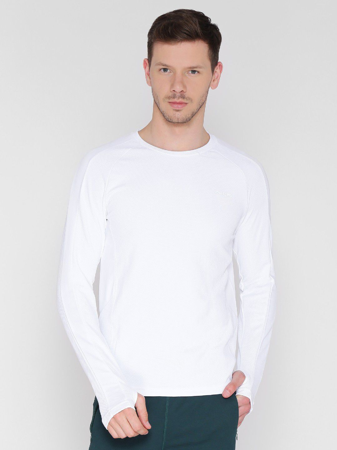 Alcis Mens Solid White Running T-Shirt