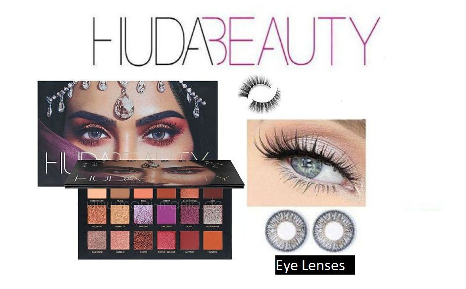 Huda Beauty Desert Dusk Eyeshadow Palette With Eye Contact Lens & Eyelashes  Makeup Kit gm