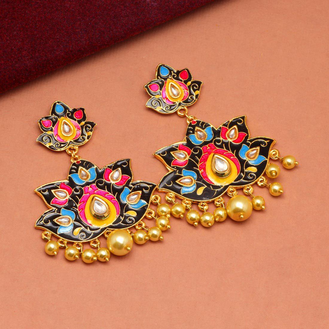 Jaipur Mart Black & Yellow Color Imitation Pearl Meenakari Earrings