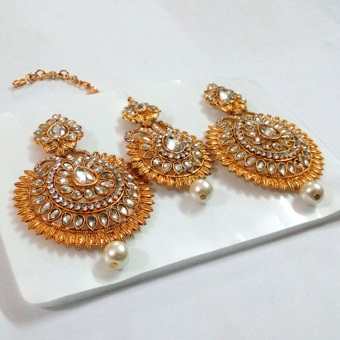Jaipur Mart White Color Imitation Pearl & Glass Stone Earrings With Maang Tikka