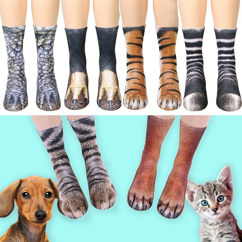 2018 Fashion Adult Child Animal Paw Crew Socks - Sublimated Print Unisex Cute Cotton Shortsock Women Women's Fashion Bottoms