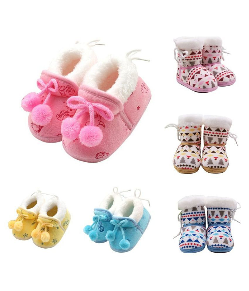 Toddler Kids Fleece Fur Snow Boots Laced Baby Shoes Winter Ankle Socks