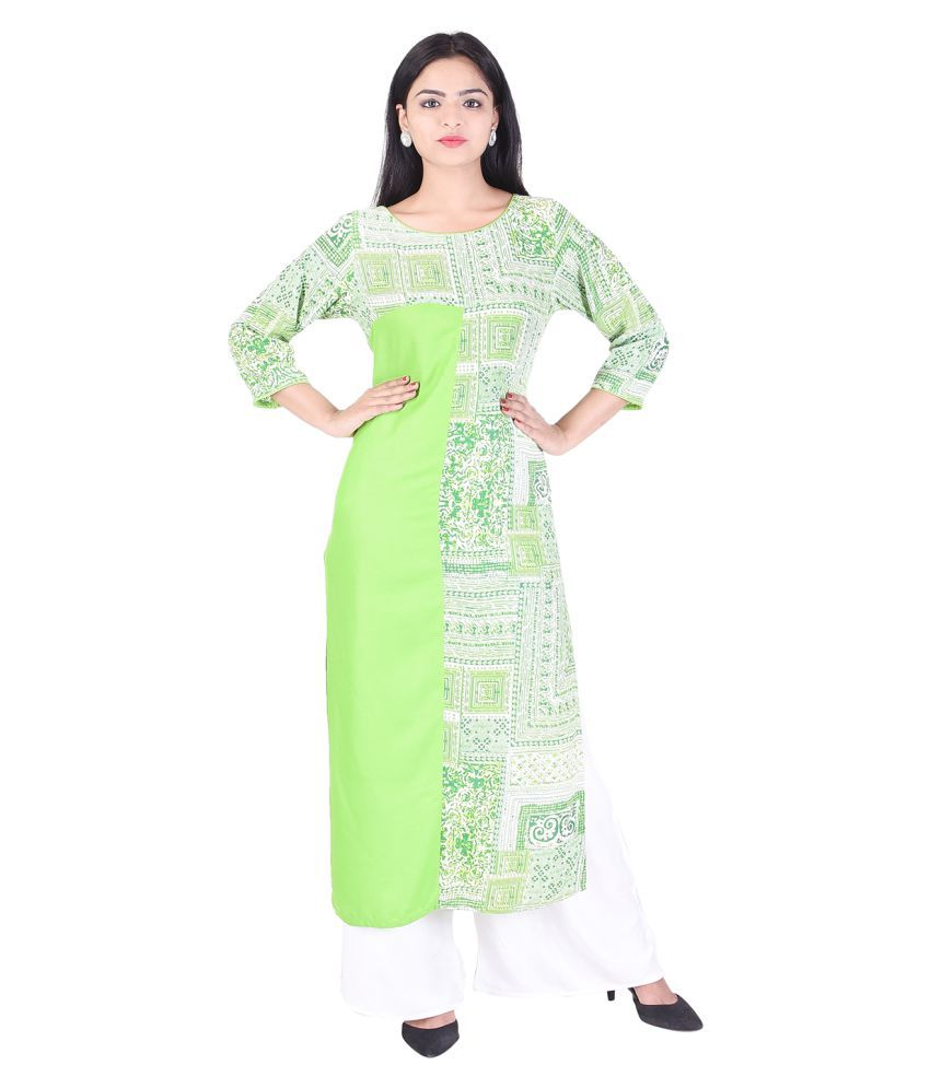 EMPRAL Green Cotton Straight Kurti