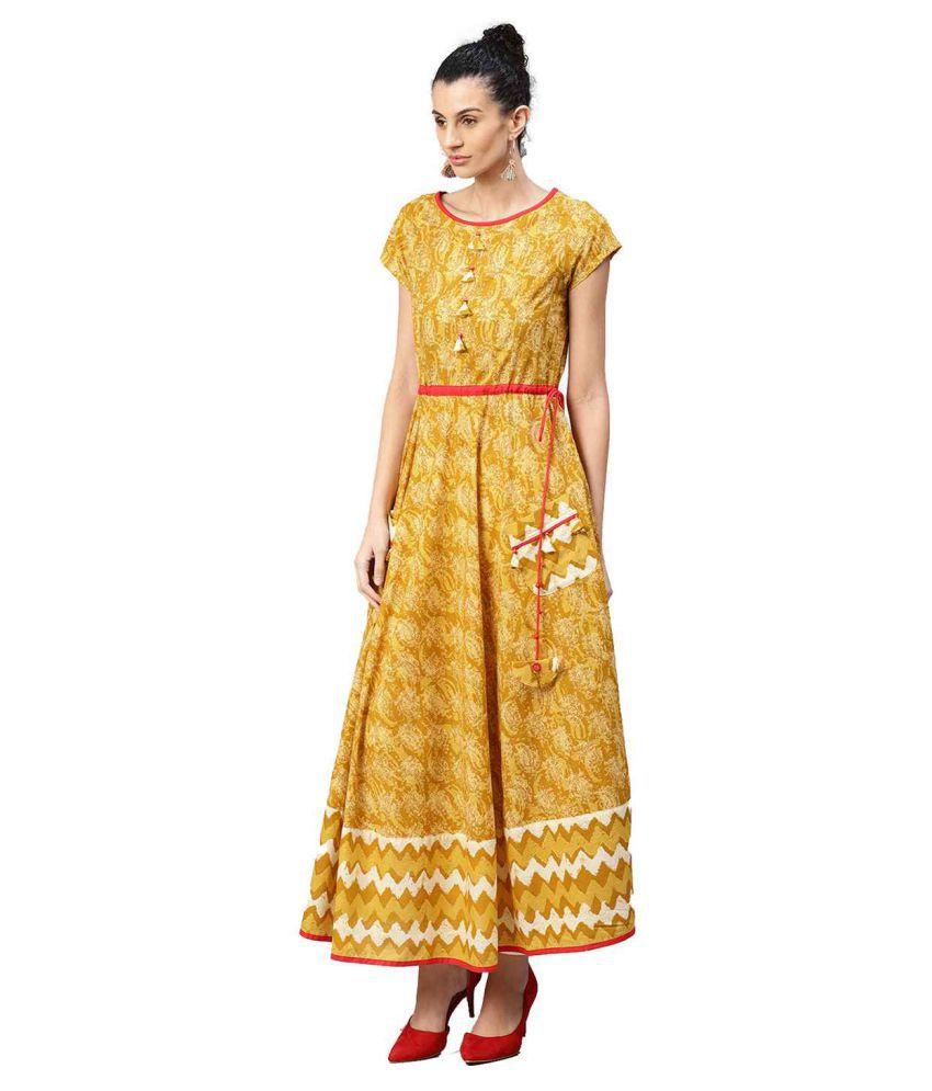 Jaipur Kurti Yellow Cotton A-line Kurti