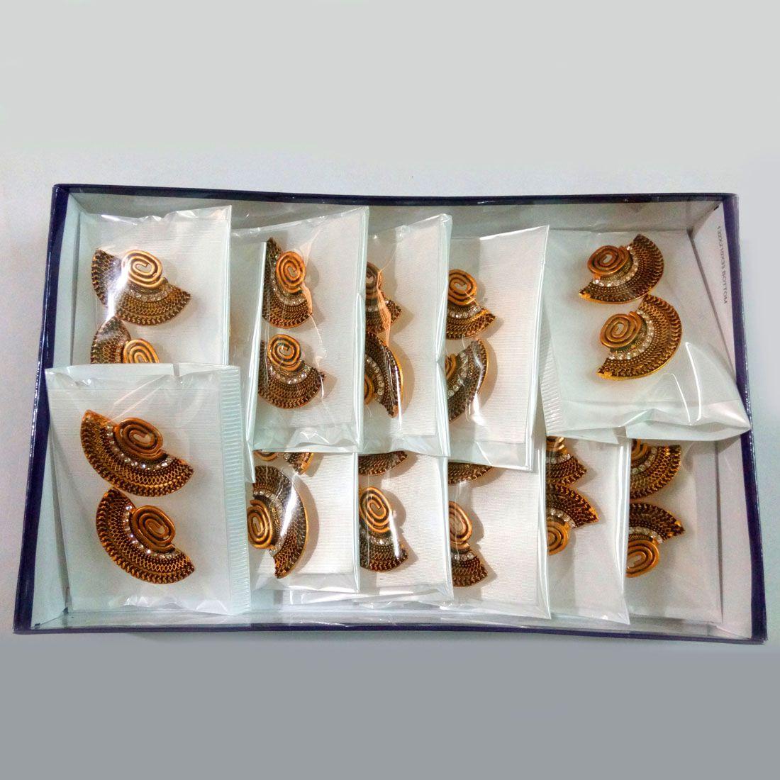 Jaipur Mart Gold Color Rhinestone 12 Pairs Of Earrings Combo