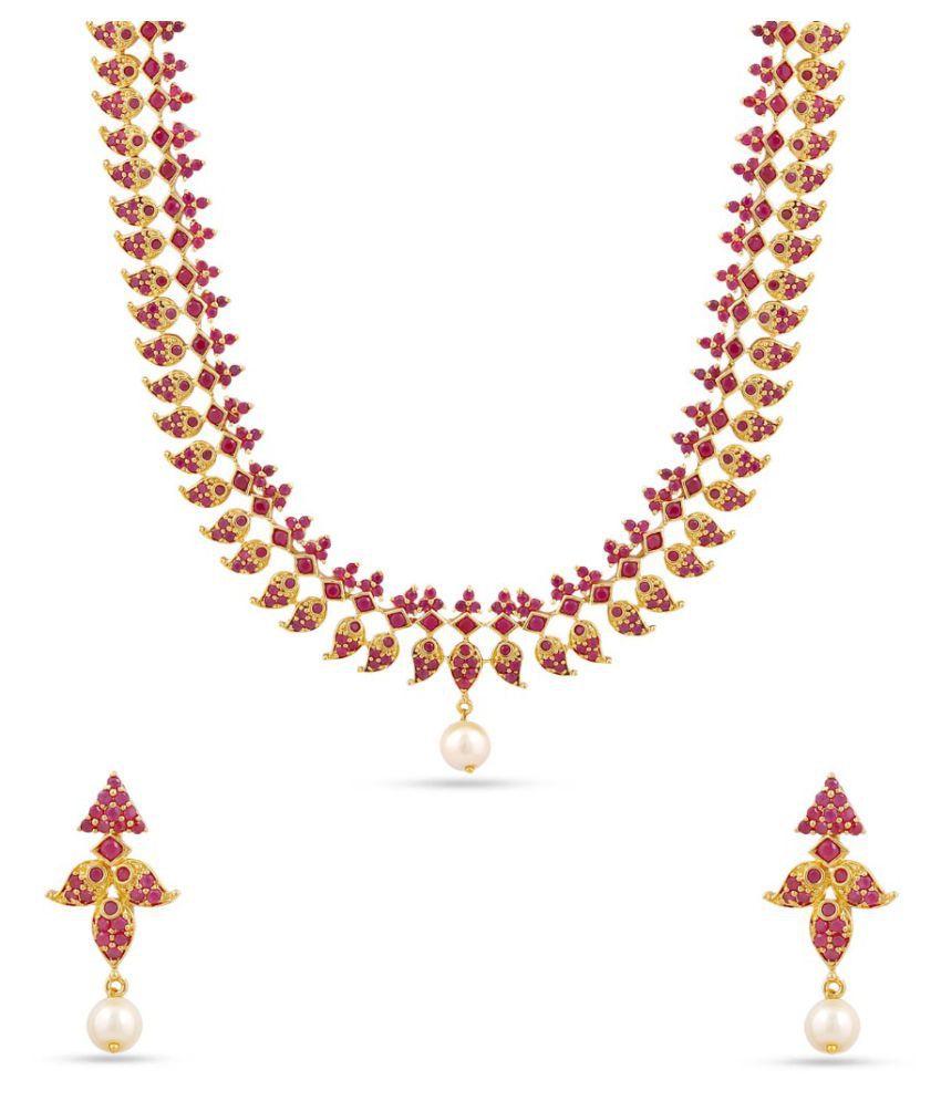 Maalyaa Brass Alloy Ad Short Necklace Set for Women